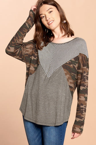 Missy- long sleeve camouflage-charcoal