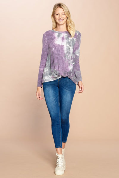 Missy- tie dye knit top with knot- purple/grey - Curvature Clothing