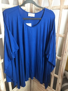Missy Flowy poncho top with unfinished hem- Royal