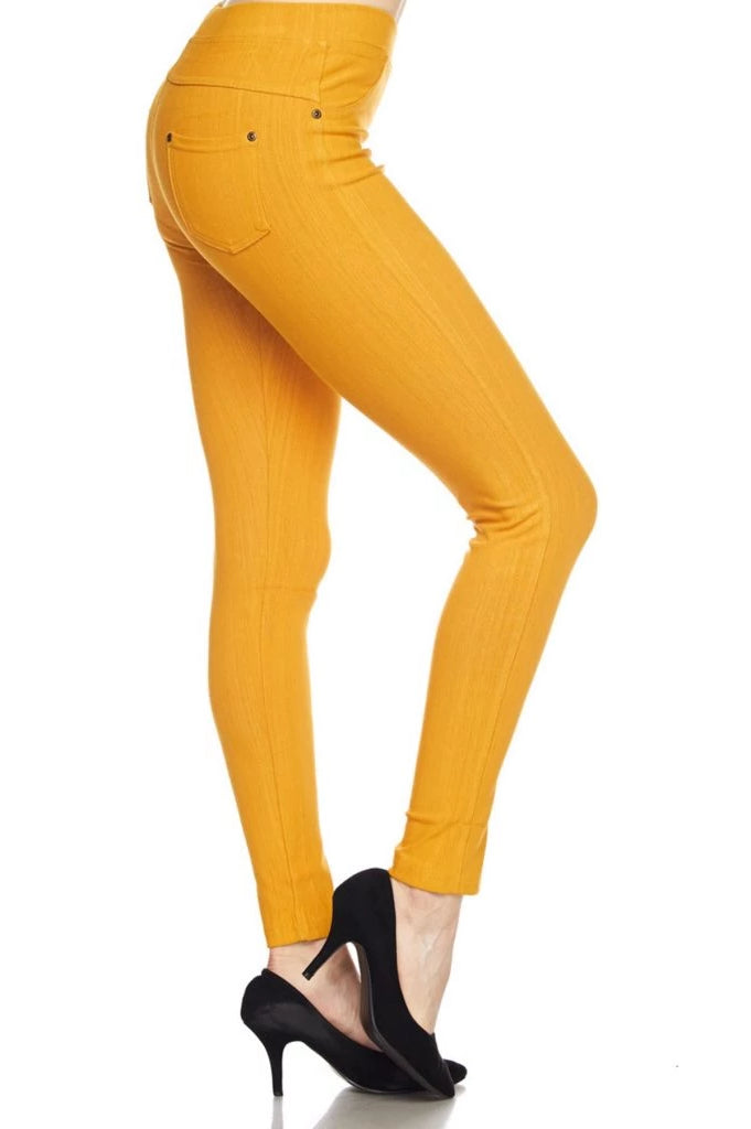 Jeggings-Mustard - Curvature Clothing