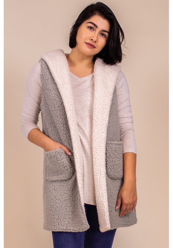 Faux Shearling Vest with Hood-Light Sage/White
