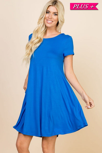 Plus- solid cross-back dress with pockets- blue - Curvature Clothing