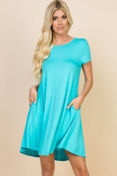 Missy- solid cross-back dress with pockets- ocean blue - Curvature Clothing