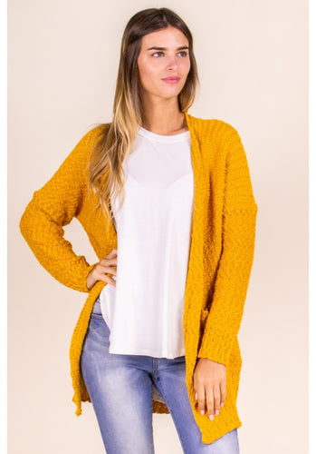 Missy- Popcorn knit cardigan- mustard - Curvature Clothing