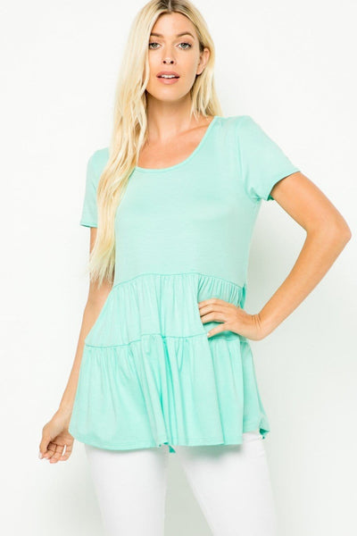 Missy- solid  short sleeve tiered tunic- mint - Curvature Clothing