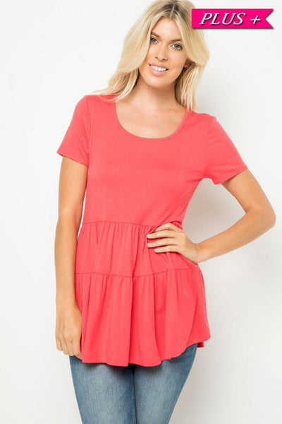 Plus- solid, short sleeve, tiered top- coral - Curvature Clothing