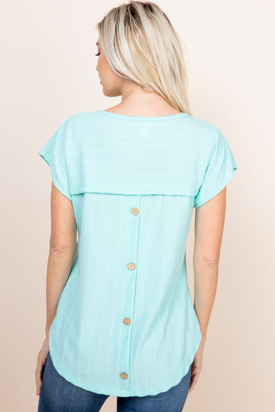 Missy- button back striped ribbed knit top- mint - Curvature Clothing