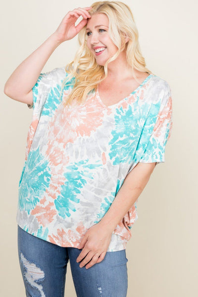 Plus tie-dyed v-neck dolman sleeve top, coral/aqua - Curvature Clothing