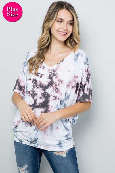 Plus tie-dyed v-neck dolman sleeve top,pink/blue/gray - Curvature Clothing