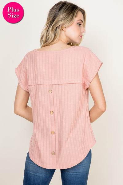 Plus- ribbed short sleeve top with back buttons-pink