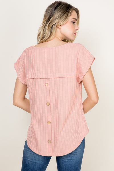 Missy- ribbed short sleeve top with back buttons-pink