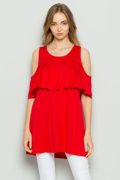 Missy- cold shoulder top- red - Curvature Clothing