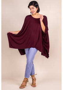 Flowy poncho top with unfinished hem- Wine - Curvature Clothing