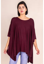 Load image into Gallery viewer, Flowy poncho top with unfinished hem- Wine - Curvature Clothing