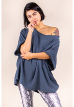 Load image into Gallery viewer, Guaze poncho top- slate