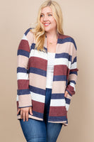 Plus- color block cardigan-navy combo - Curvature Clothing