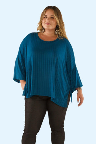 Plus Tone on Tone style top- teal