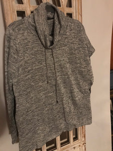 Missy  Pancho style turtleneck hoodie with sleeve-grey