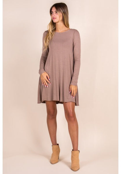 Bamboo long sleeve swing top/dress-Mocha - Curvature Clothing