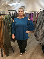 Plus cold shoulder top-teal - Curvature Clothing