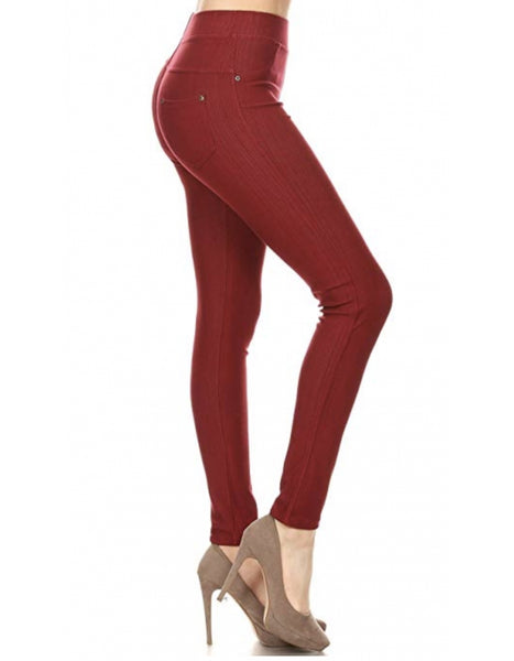 Jeggings- Burgundy - Curvature Clothing
