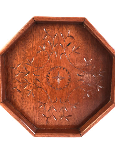 Bohemian Carved Wooden Tray with Carved Flower & Star Design