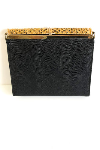 Ladies Black Clutch Handbag with Gold Tone Flower Clasp, Vintage