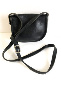Roots Crossbody Purse Black Leather With Adjustable Strap