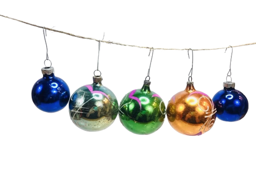 5 Vintage Glass Ornaments