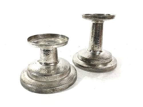 Bombay Pair of Hammered Metal Candle Holders