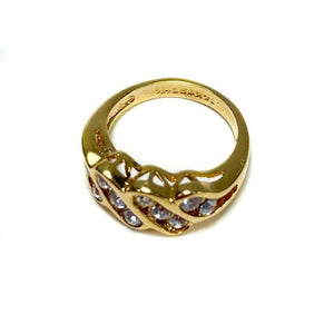 14kt Gold Plated Ring with Crystal Band Design