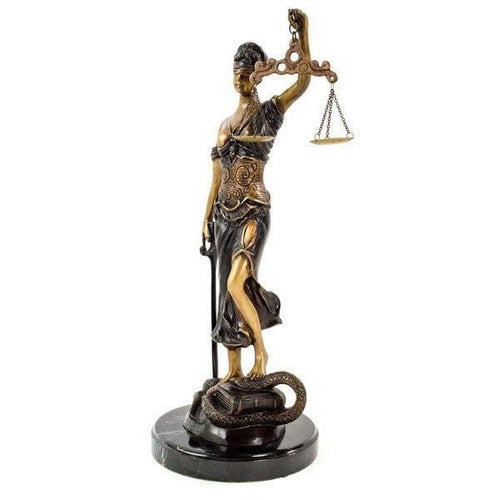 Signed Bronze 'Themis Greek Goddess' Statue