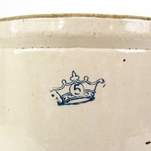 Load image into Gallery viewer, Blue Crown #5 Stoneware Cream/Grey Crock