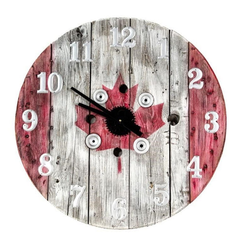 Canadiana Wooden Spool Clock - Custom Painted