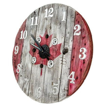 Load image into Gallery viewer, Canadiana Wooden Spool Clock - Custom Painted