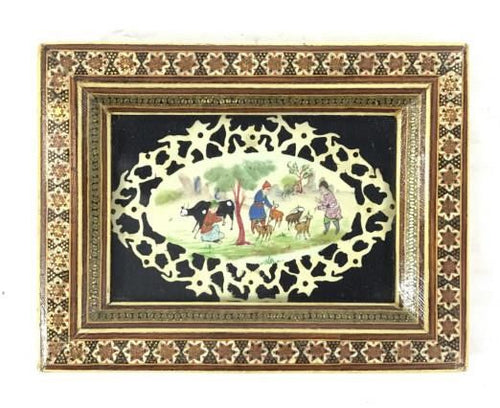 Rare Persian Khatam Inlay Framed Art