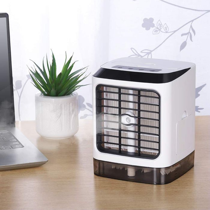 HAITRAL Personal Air Conditioner Fan, Mini Air Cooler Humidifier Desktop Cooling Fan, Ultra-Quiet Table Evaporative Air Circulator with Remote Control for Home Office Bedroom (HT-CYK003)