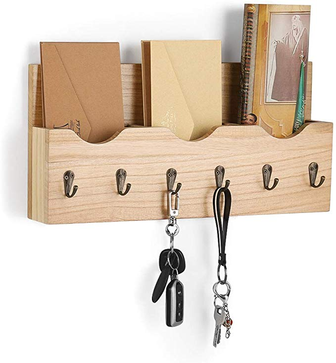 LIANTRAL Wall Mount Mail Holder Organizer Mail Sorter with 3 Storage compartments Entryway Organizer with 6 Key Hooks Natural Wood (LT-HK17-32)