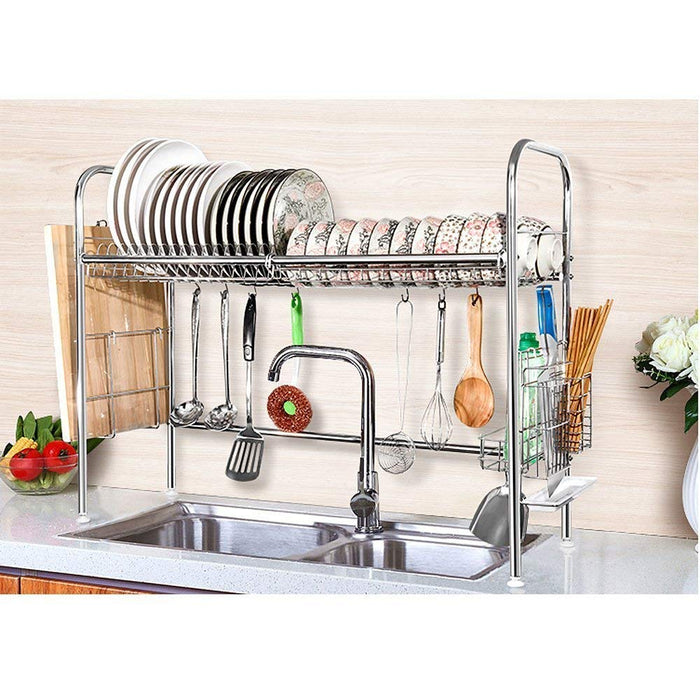 "NEX Single Layer Adjustable 35-37"" x 9.8"" x 31"" Dish Rack, Stainless Steel"