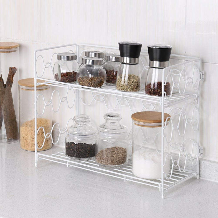 2-Tier Spice Rack Countertop Shelf for Kitchen Spice Jars Storage Organizer Wall-mounted Storage White (NX-DB050A)