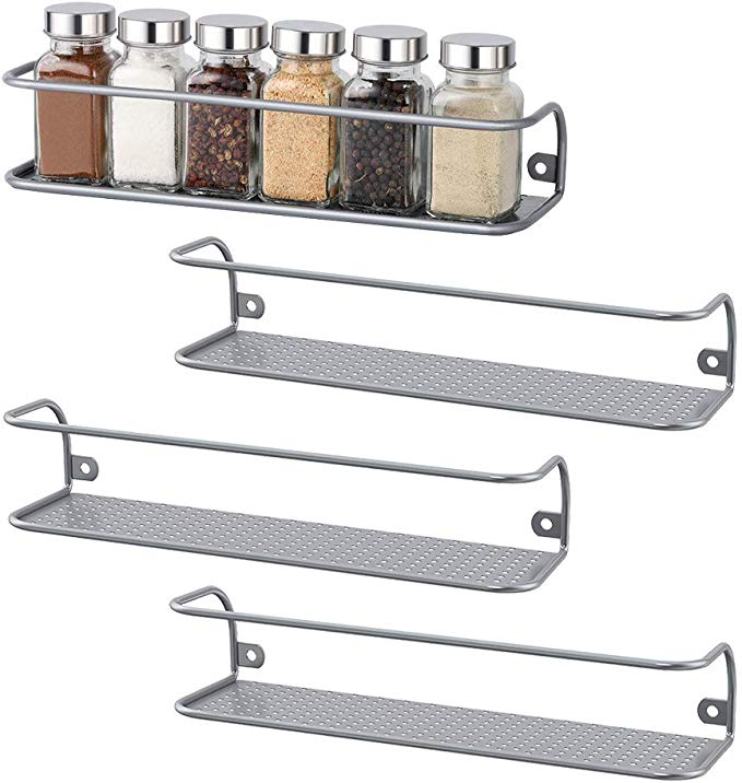 NEX Spice Racks Wall Mounted Spice Storage Silver- 4 Pack Large (NX-KD62-11)