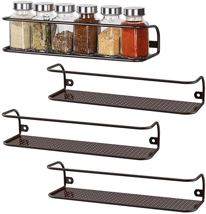 NEX Spice Racks Wall Mounted Spice Storage Brown- 4 Pack Large (NX-KD61-17)