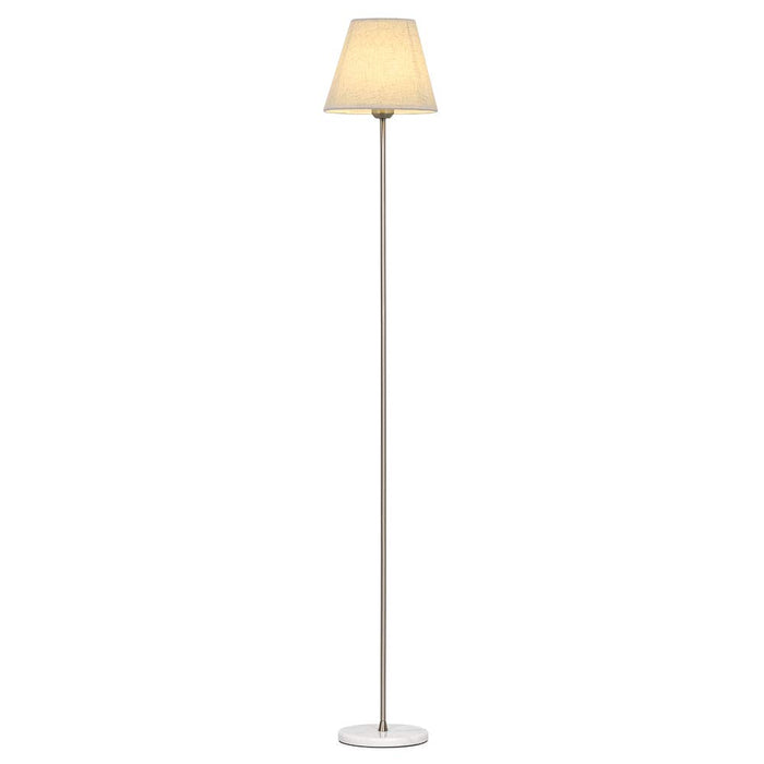 HAITRAL Standing Floor Lamp – Modern Tall Floor Lamp Light with Fabric Linen Shade, Silver Finish, Marble Base, Floor Reading Lamp for Living Rooms, Bedrooms, Office Silver (HT-TH40-11)