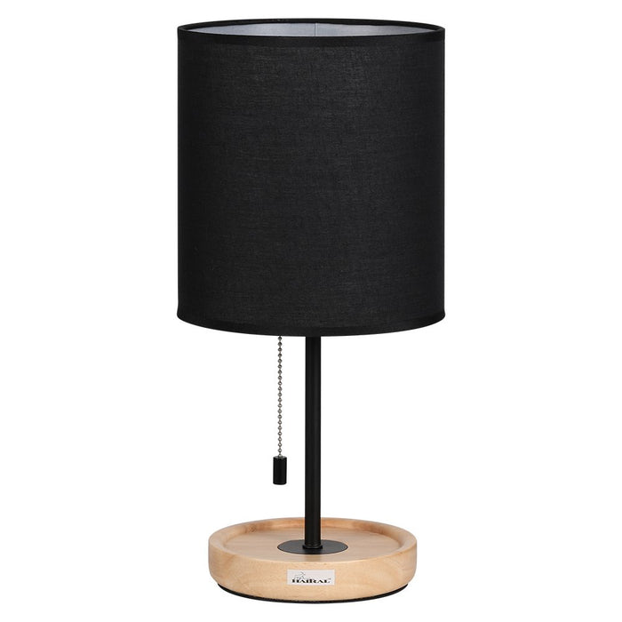 HAITRAL Modern Wooden Table Lamps – Contemporary Desk Lamp with Neutral Wooden Base, Black Fabric Shade, Metal Frame, Bedside Lamp for Bedroom, Living Room, College Dorm, Office Black (HT-AD004)