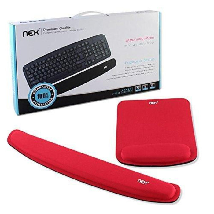 NEX Ergonomic Mouse Pad with Wrist Support, Memory Foam Keyboard Wrist Rest for Computer, Laptop Red (NX-PAD006)