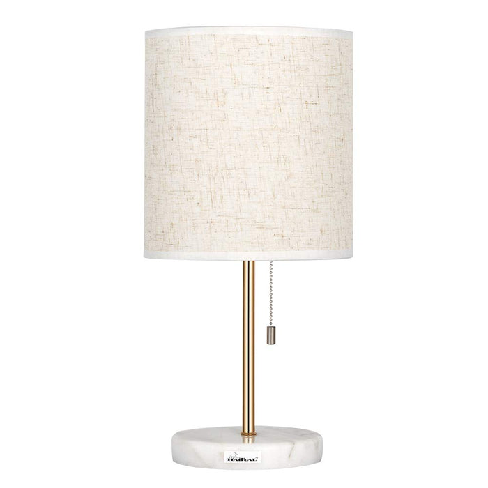 HAITRAL Marble Bedside Table Lamp - Elegant Nightstand Lamps for Bedroom, Living Room, Girls Room, Office with White Marble Base Linen Fabric Shade - Gold (HT-TH49-21)