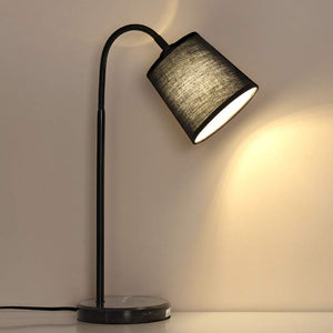 HAITRAL Flexible Gooseneck Bedside Table Lamp – Simple Desk Lamp with Marble Base, Metal Frame, Black Fabric Shade for Living Room, Bedroom, Dorm, Office Black (HT-AD010)