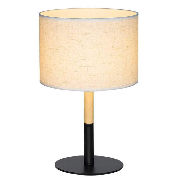 HAITRAL Bedside Table Lamp - Simple Nightstand Lamp with Metal Base, Wooden Frame and Line Fabric Shade Elegant Lamps for Bedrooms, Living Room, Office - Black (HT-TH72-02)