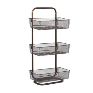 NEX Over the Door Basket Organizer, 3-Tier Mesh Basket Hanging Storage Unit Over Door Pantry Rack Organizer Dark Brown (NX-HK12-17L)