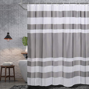 "NEX Shower Curtain with 12 Hooks Waterproof Fabric Bathroom Decor 70"" x 70"" White & Gray (NX-HK154-ZT)"